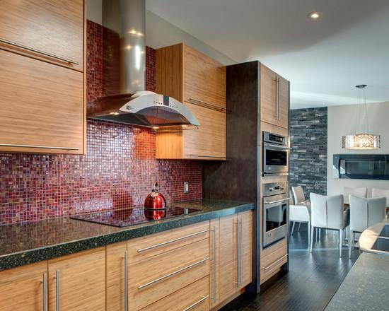 Image of: red mosaic tile backsplash