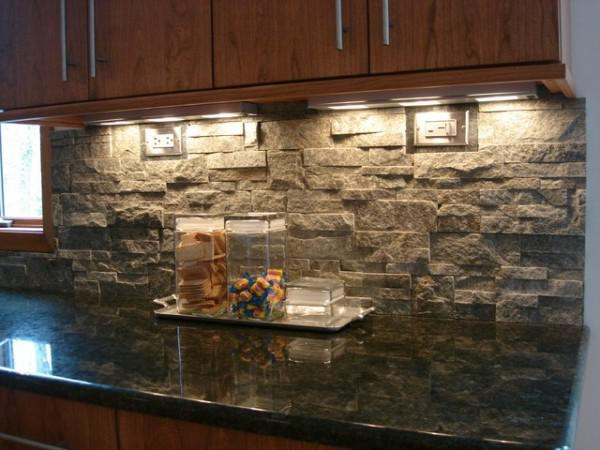 Image of: river rock backsplash kitchen