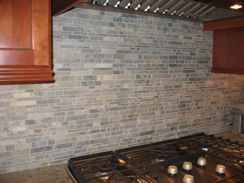 Image of: river rock kitchen backsplash