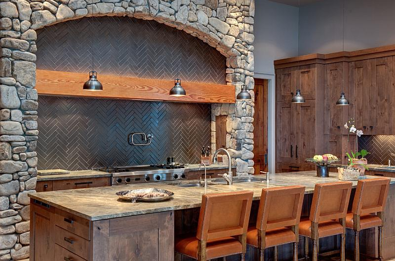 Image of: rustic backsplash tile