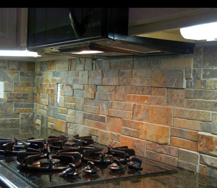 Image of: rustic stone backsplash