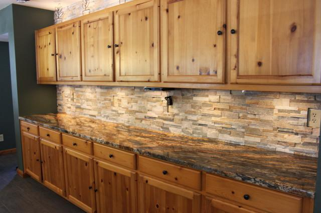 Image of: rustic subway tile backsplash