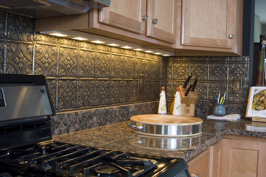 Image of: silver tin backsplash tiles