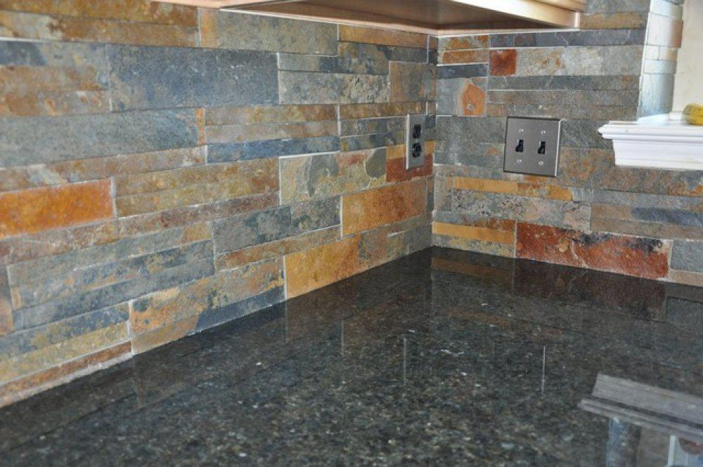 Image of: slate backsplash tile
