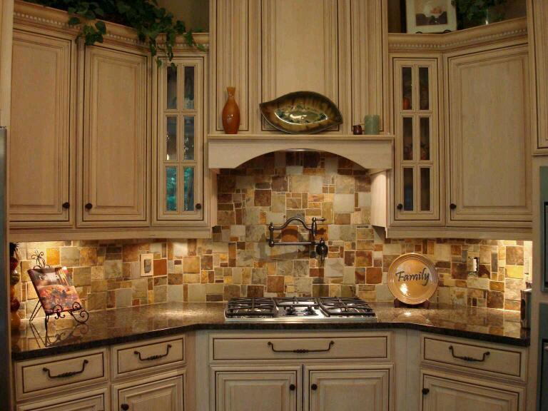 Image of: slate kitchen backsplash