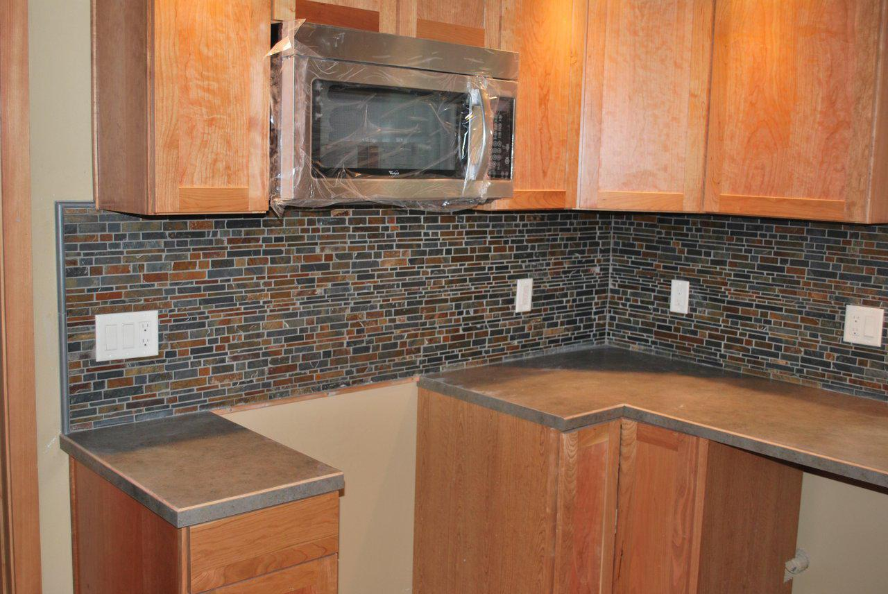 Image of: slate subway tile backsplash