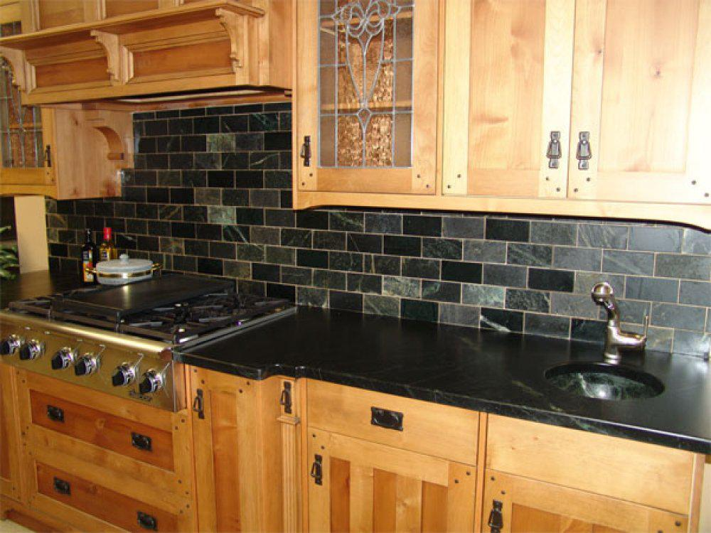 Image of: slate tile backsplash