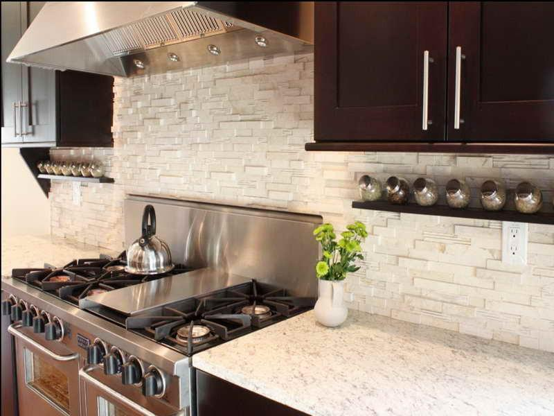 Image of: stack stone backsplash