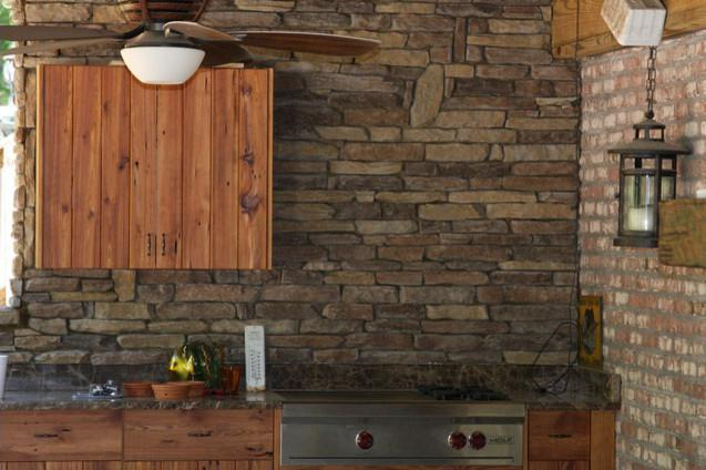Image of: stacked stone backsplash panels
