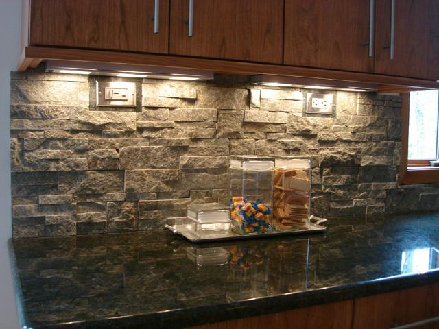 Image of: stacked stone backsplash tile
