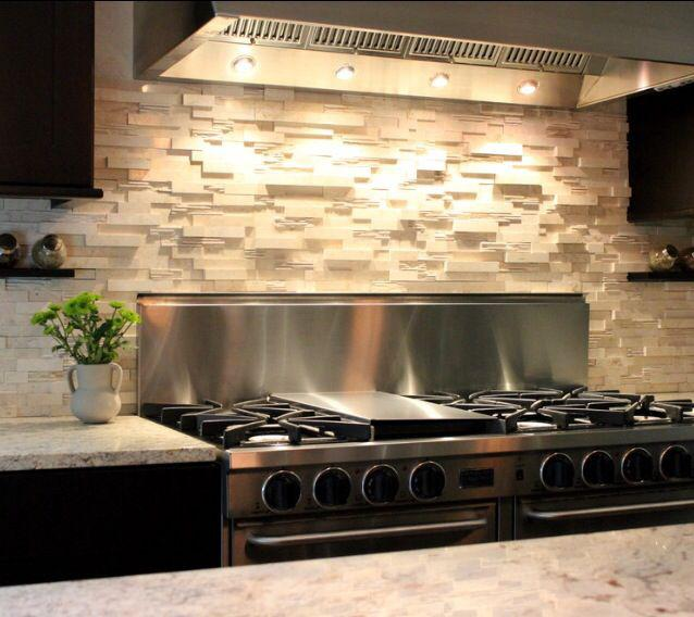 Image of: stacked stone backsplash
