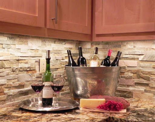 Image of: stacked stone kitchen backsplash