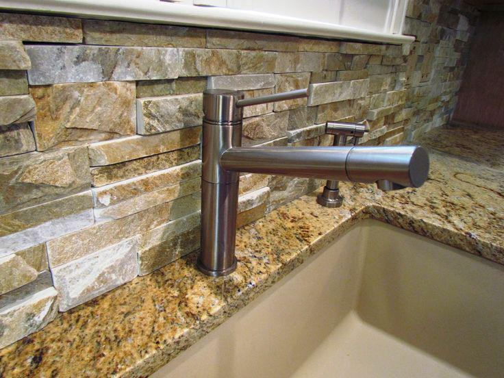 Image of: stacked stone panels for backsplash