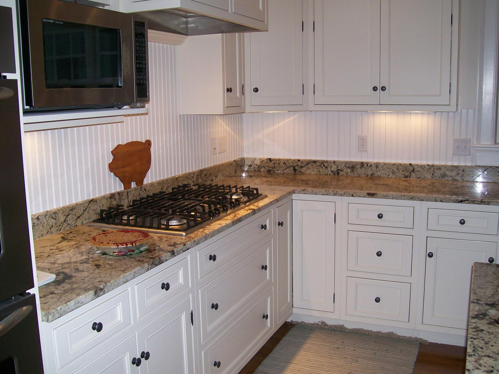 Image of: stained beadboard backsplash