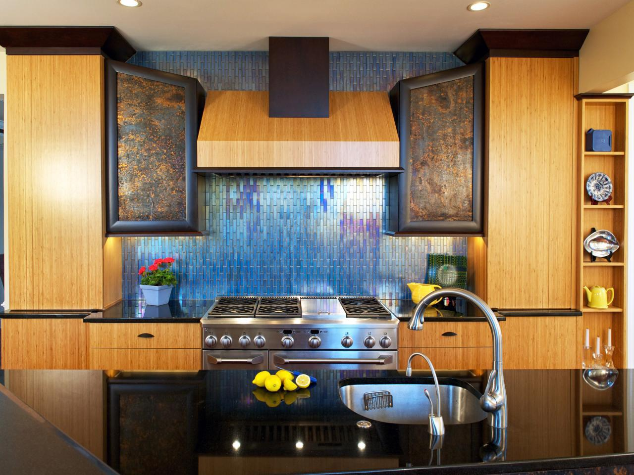 Image of: stainless steel backsplash behind stove