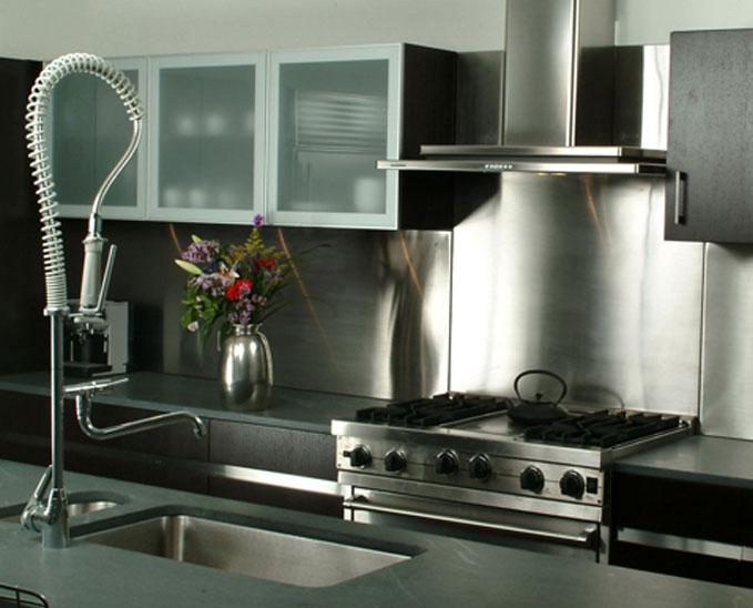 Image of: stainless steel backsplash home