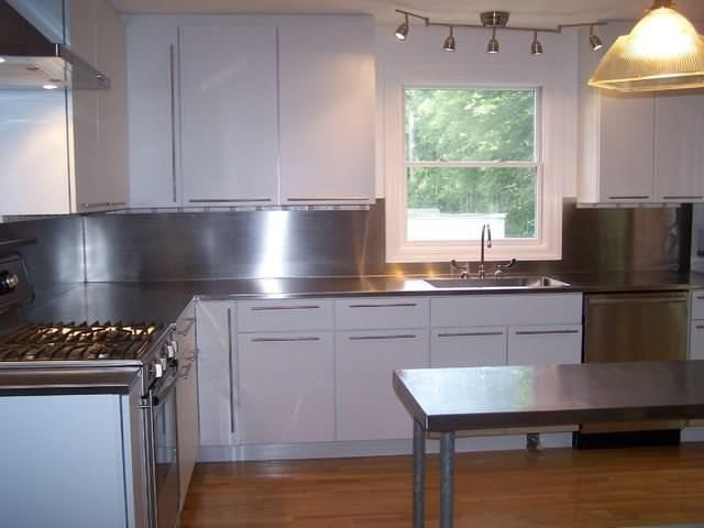 Image of: stainless steel backsplash sheet