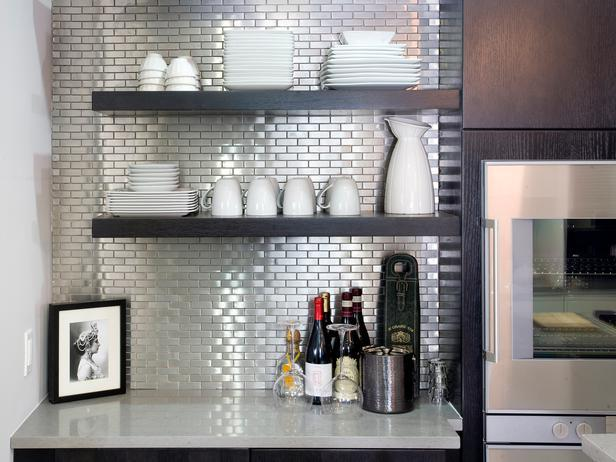 Image of: stainless steel backsplash sheets