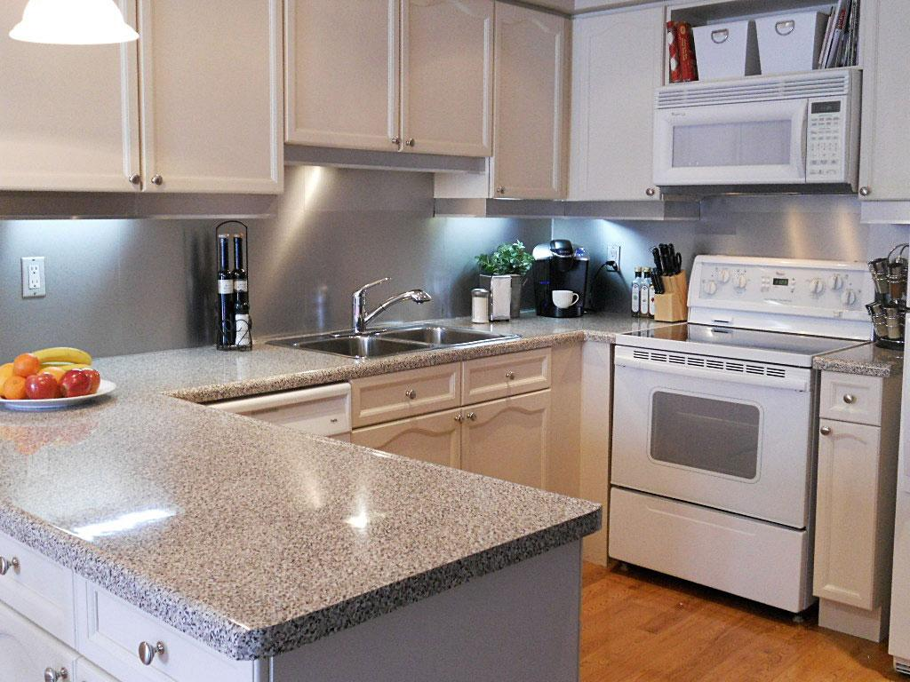 Image of: stainless steel backsplash tile style