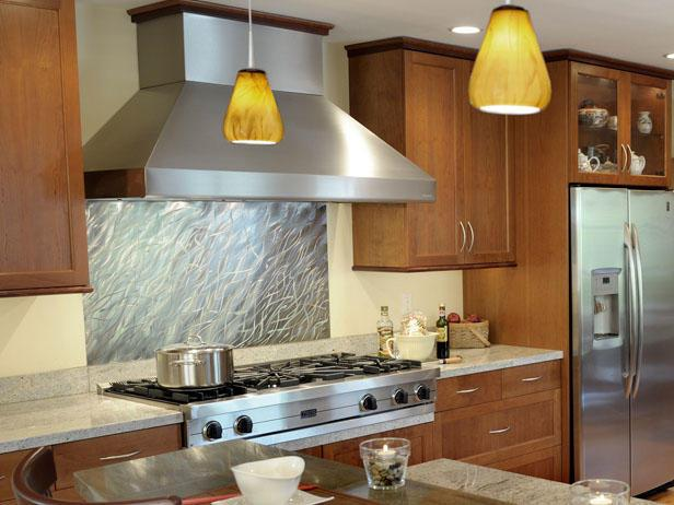 Image of: stainless steel backsplash tile