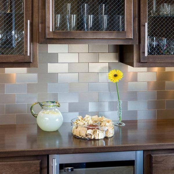 Image of: stainless steel backsplash tiles self adhesive