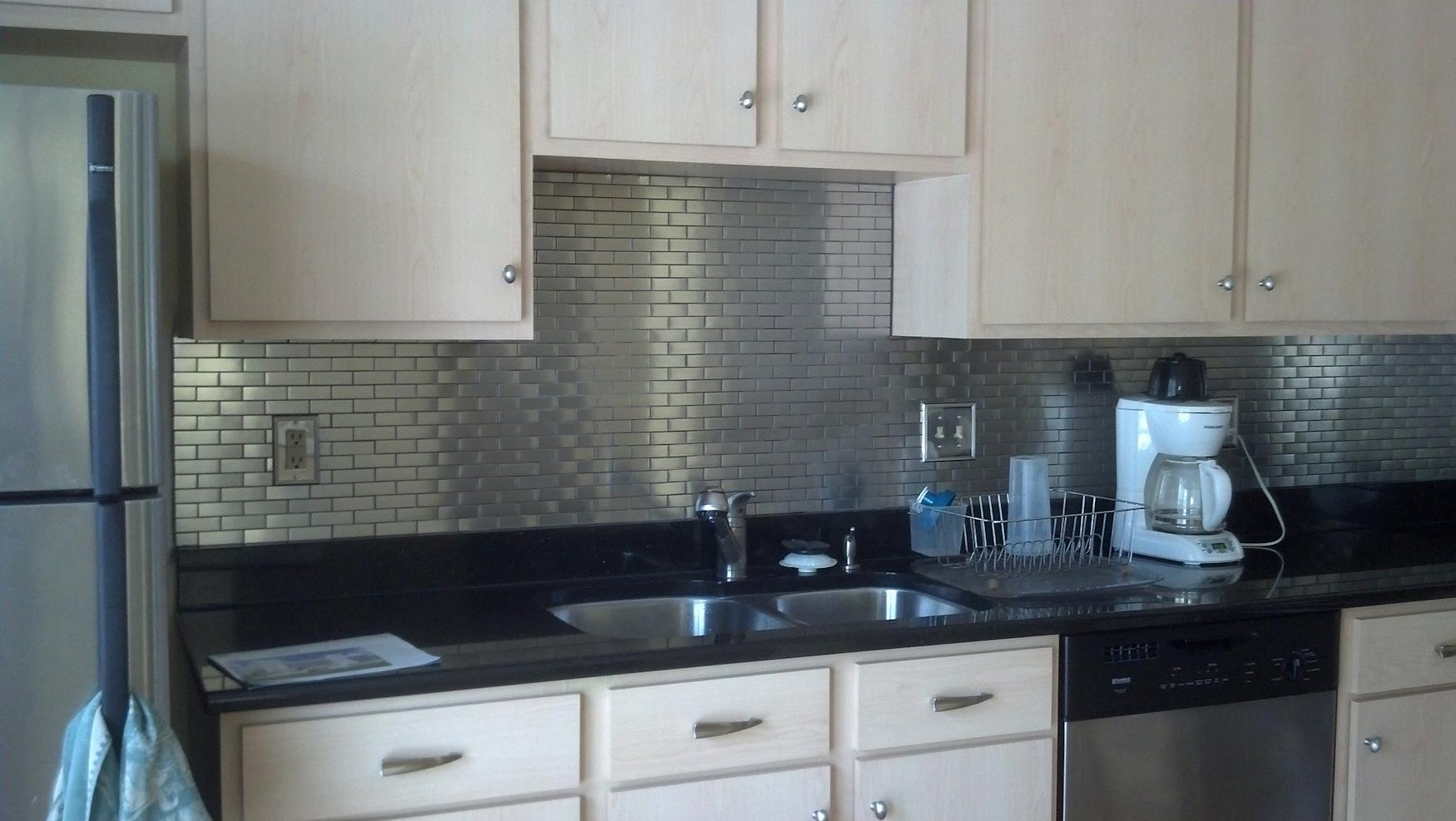 Image of: stainless steel backsplash