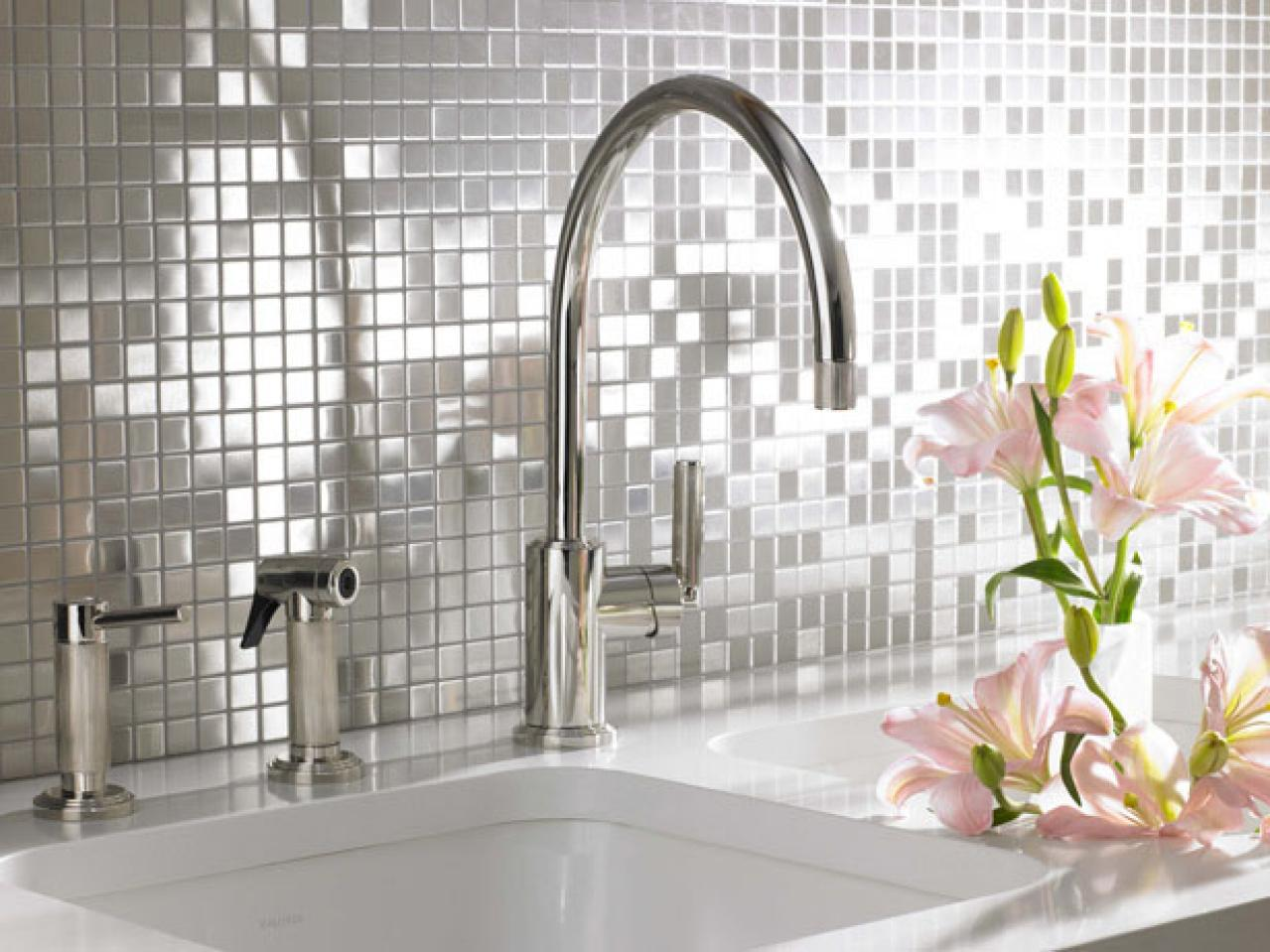 Image of: stainless steel mosaic backsplash
