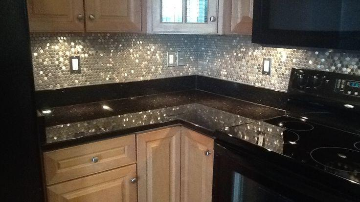 Image of: stainless steel penny round backsplash