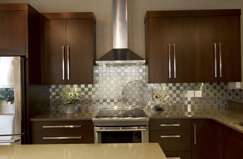 Image of: stainless steel subway tile backsplash modern