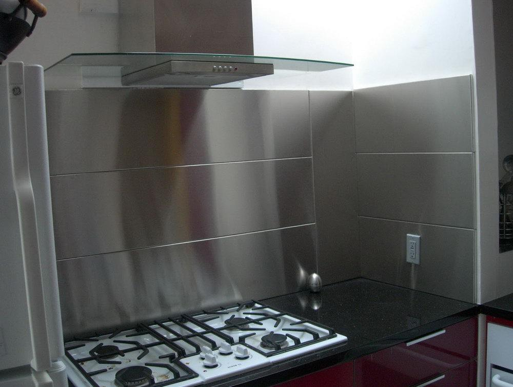 Image of: stainless steel tile backsplash ideas