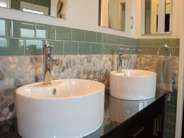 Image of: stone backsplash bathroom