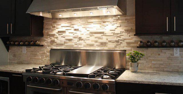 Image of: stone backsplash tile