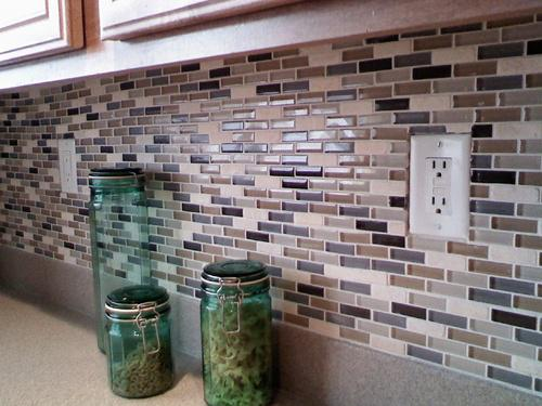 Image of: stone mosaic backsplash tile