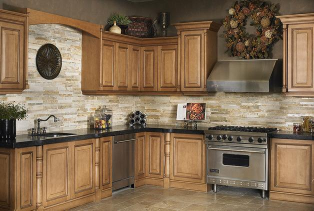 Image of: stone subway tile backsplash