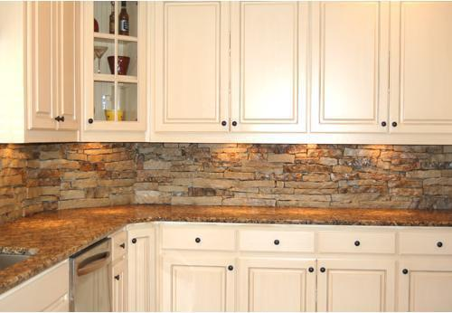 Image of: stone tile backsplash