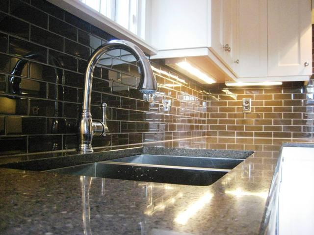 Image of: subway glass tile backsplash