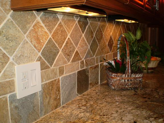 Image of: subway slate and glass backsplash