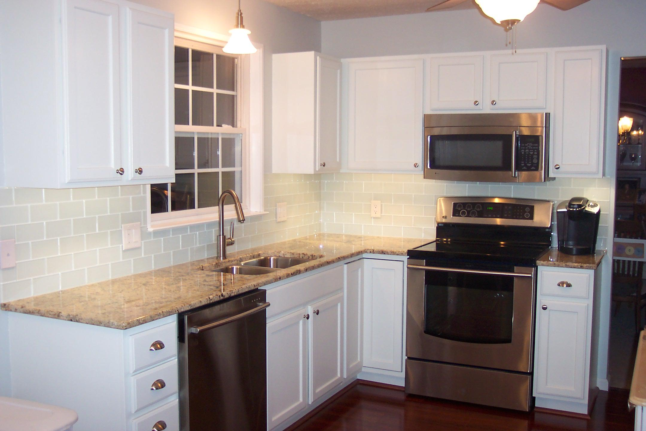 Image of: subway tile backsplash around window