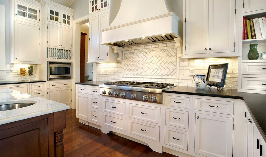 Image of: subway tile herringbone backsplash