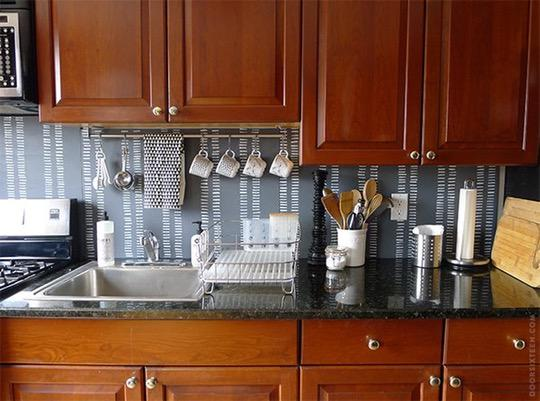 Image of: temporary glass backsplash