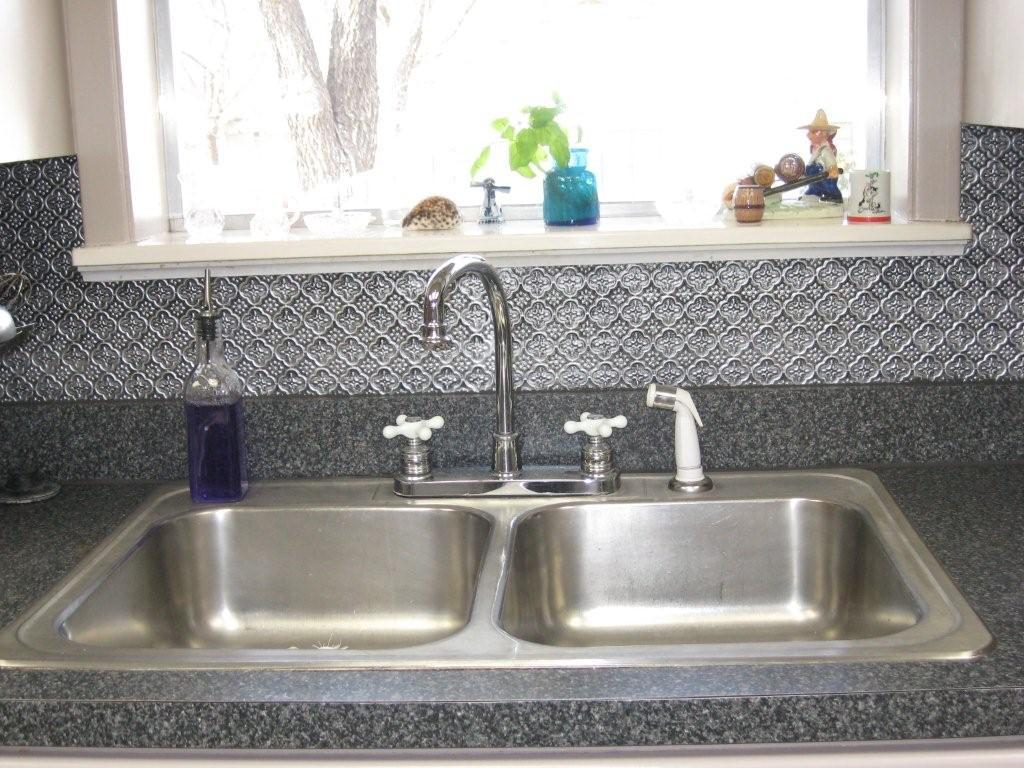 Image of: tin tiles for backsplash in kitchen