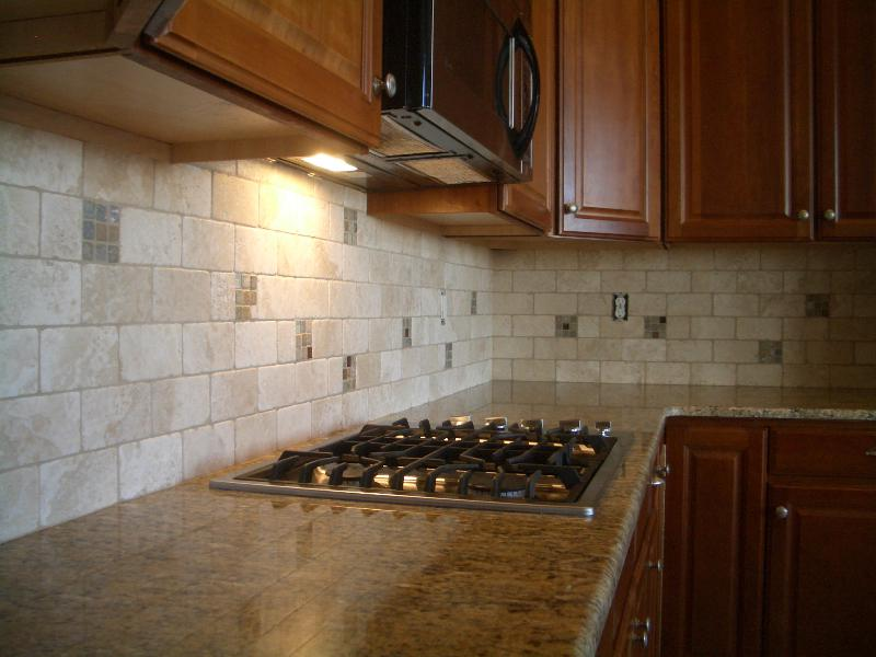 Image of: travertine kitchen backsplash