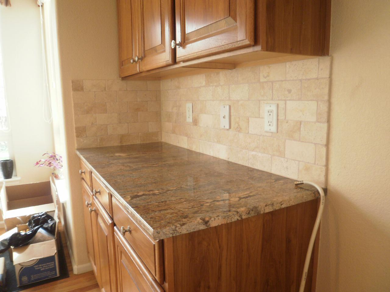 Image of: travertine mosaic tile backsplash