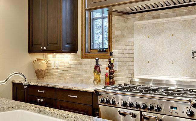 Image of: travertine subway tile backsplash