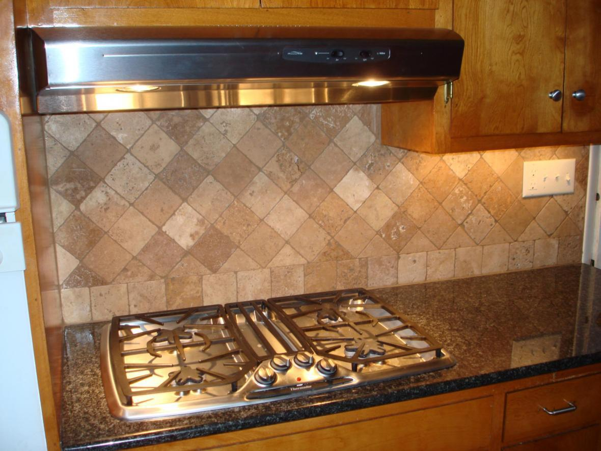 Image of: travertine tile backsplash