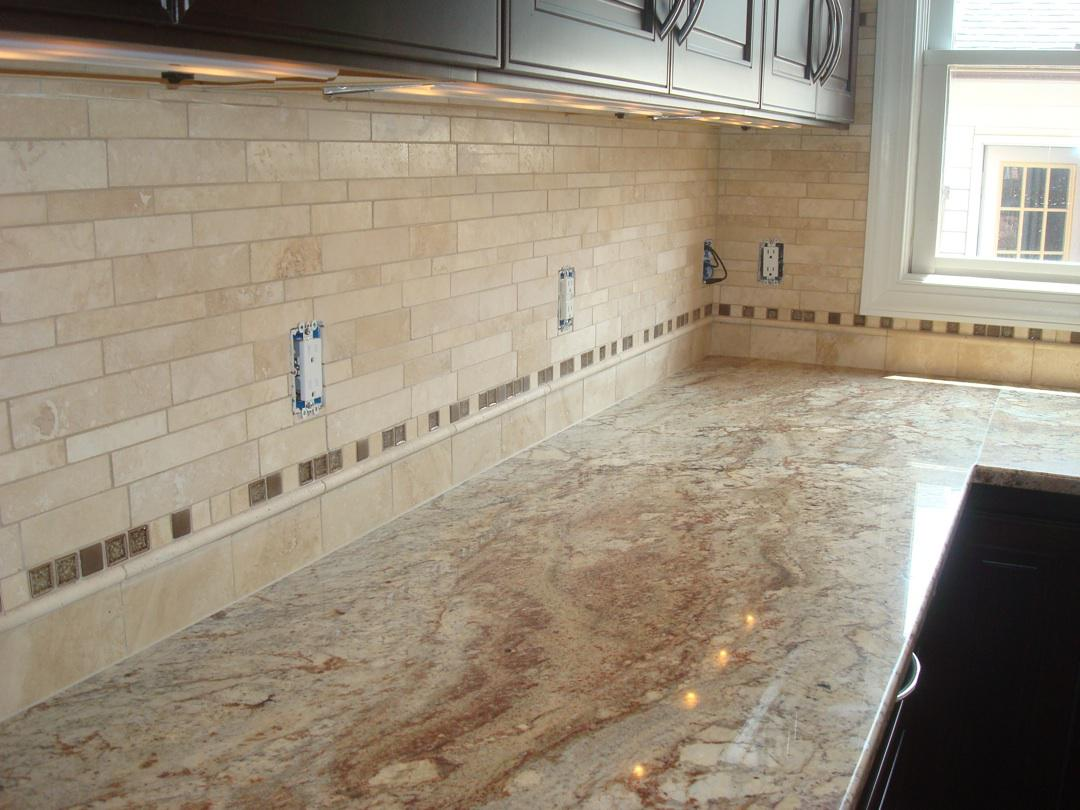 Image of: travertine tile for backsplash in kitchen
