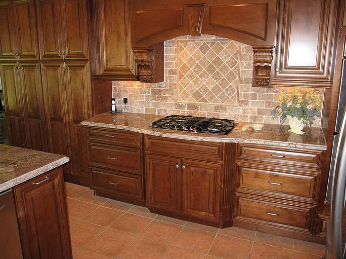 Image of: tumbled travertine backsplash tile