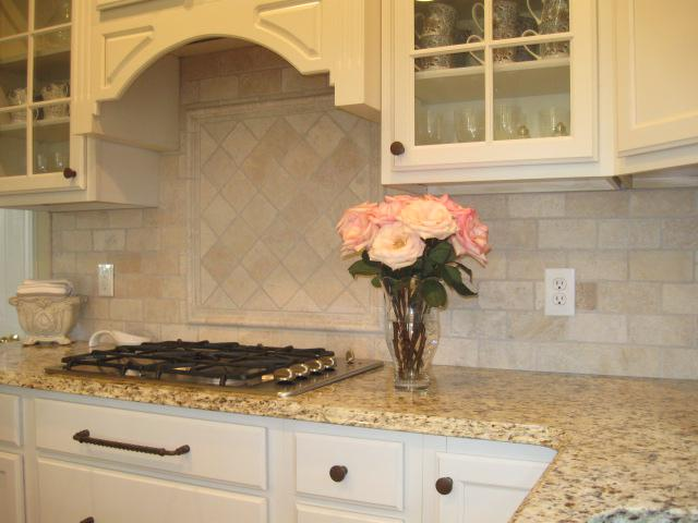 Image of: tumbled travertine tile backsplash