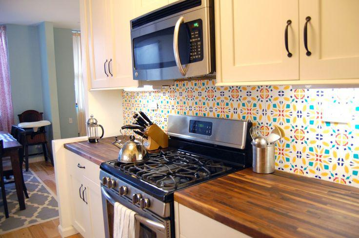 Image of: vinyl wallpaper backsplash