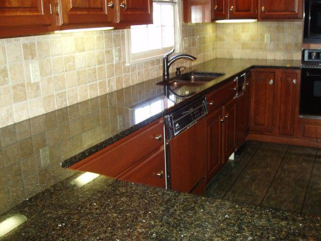 Image of: walnut travertine backsplash